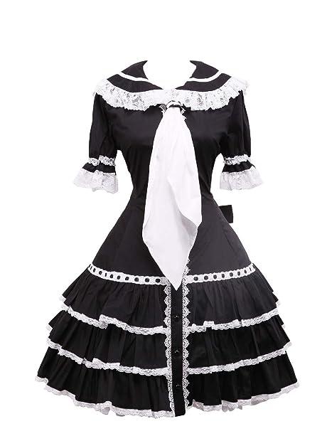 antaina Vestido de coser de Lolita Gótico Victoriana de encaje de volante de algodón negra,