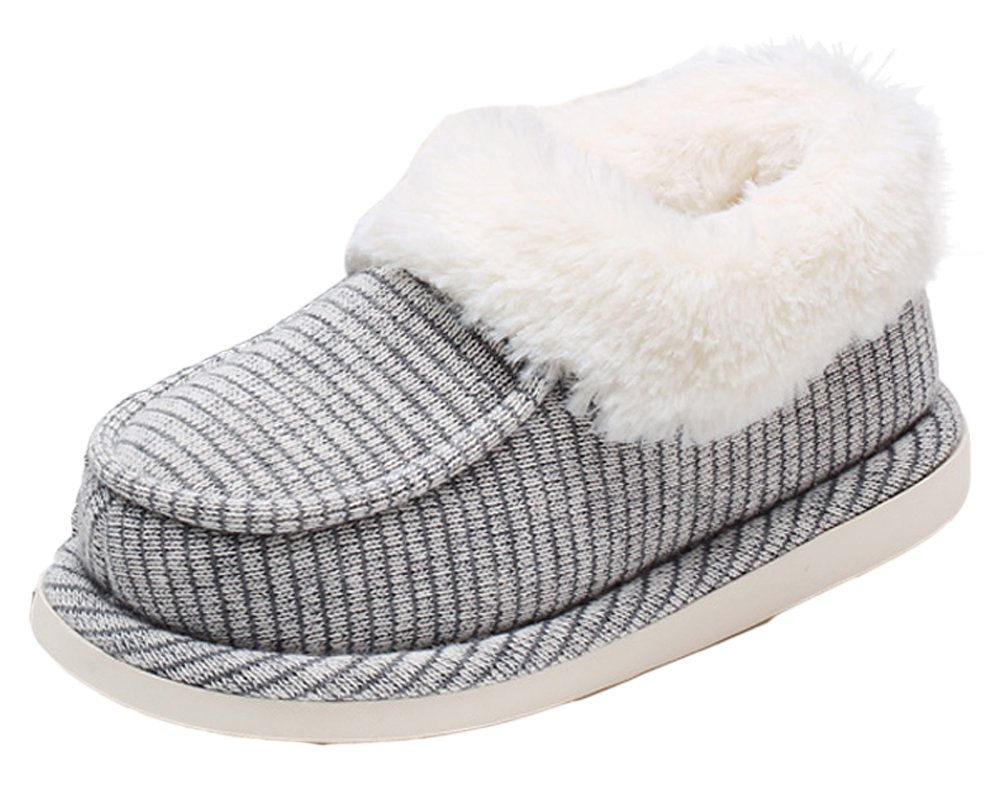 VECJUNIA Girls Boys Knitted Fleece House Shoes Indoor Slipper Ankle Boots Gray 13 M US Little Kid