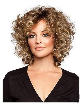 Corto Rizado Curly Kinkys Pelucas para Negro Mujer Mullido Ondulado marrón Sintético Cabello Natural Mirando Calor