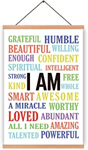 Inspirational Quote Magnetic Natural Wood Hanger Frame Poster, Canvas Colorful Motivational Lettering Painting 28X45cm Wall Hanging Art Print for Classroom Office Decor