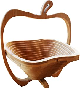 Natural Bamboo Apple Collapsible Fruit & Vegetable Basket Bowl Foldable Wood Fruit Basket Elephant, Folding Fruit Bowl by OTOP Thai