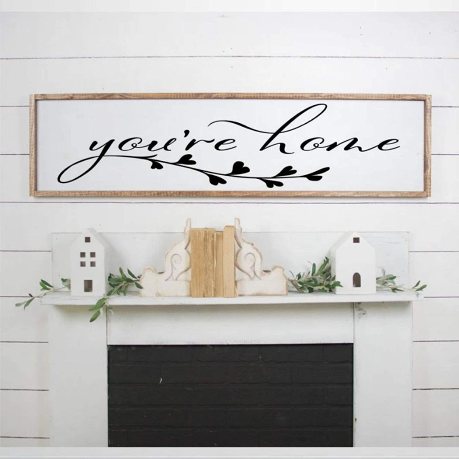 DONL9BAUER You're Home Framed Wooden Sign Farmhouse Wood Sign Wall Hanging Home Decor Wall Art for Living Room Bedroom