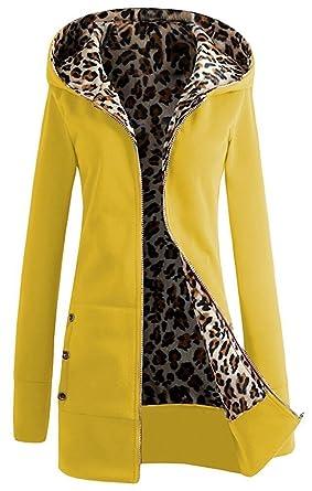 Minetom Mujer Otoño Invierno Chaqueta con Capucha Leopardo Hoodie Cremallera Cierre Abrigos