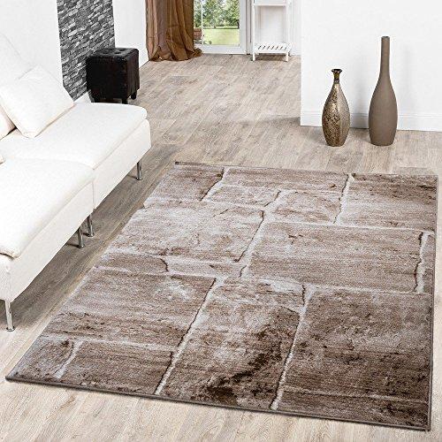 Teppich Steinboden Marmor Optik Design Modern Wohnzimmerteppich Braun Top Preis, Größe:240x340 cm