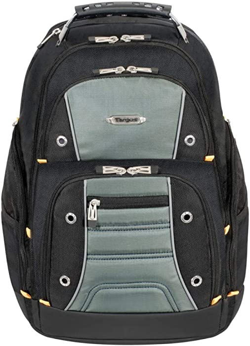 Targus Drifter II Backpack Design for Business Professional Commuter with Large Compartments, Durable Water Resistant, Hidden Zip Pocket, Protective Sleeve fits 17-Inch Laptop, Black/Gray (TSB239US)