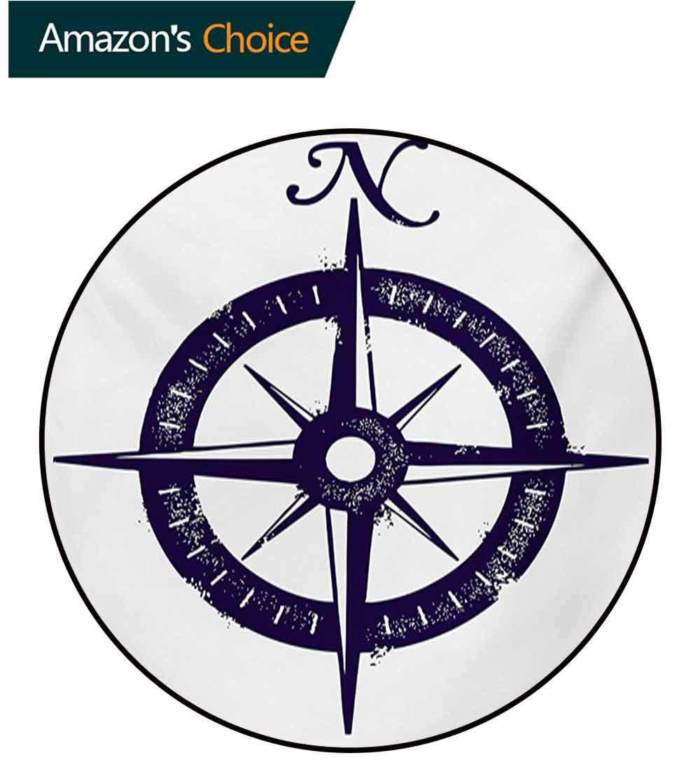 RUGSMAT Compass Round Rug,Sailing Compass with A Giant Symbol On with A Windrose Dark Purple Tones Carpet Door Pad for Bedroom/Living Room/Balcony/Kitchen Mat,Round-63 Inch Dark Purple White