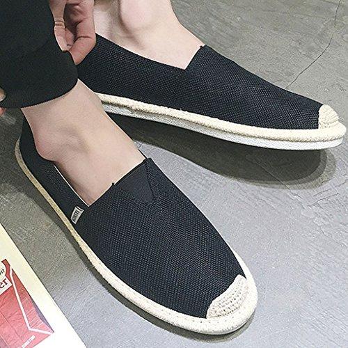 SHI per XIANG di passeggio pescatore paglia lino Scarpe shoes tela EU41 Nero dimensioni da da di uomo Colore da di passeggio libero LI SHOP Scarpe CN42 Nero da canvas il 8 uomo tempo 5 da UK7 HdHn8