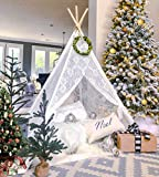 Teepee Tent for Girls, Sheer Lace Indoor and Outdoor Kids Canopy and Creative Play Space   Playroom...