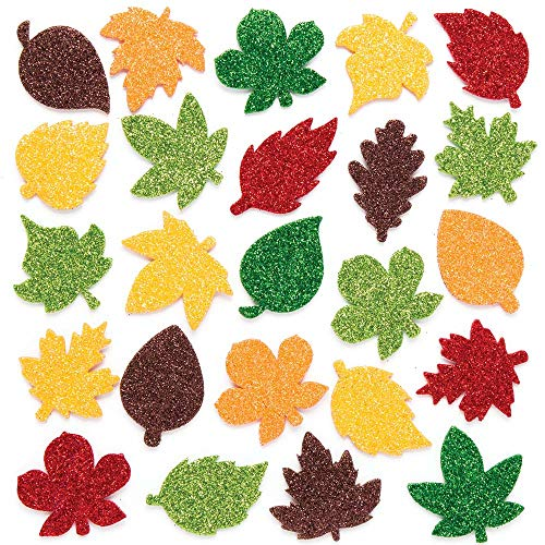Baker Ross Leaf Glitter Stickers (Pack of 144) Thanksgiving Foam Stickers for Kids Arts and Crafts