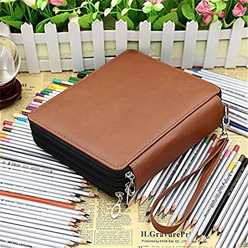 Art Supply Holder (124 Slots PU Leather Pencil Case 3 Layer Large Capacity Pencil Bag for Colored Pencils Watercolor Art Supplies (Brown))
