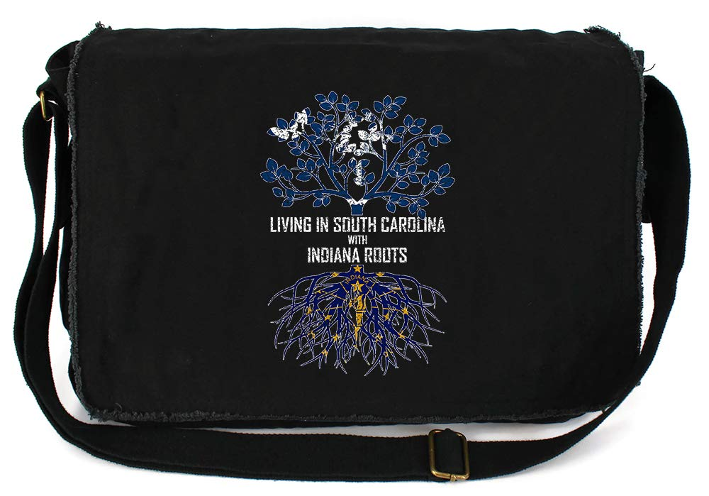 Tenacitee Living In South Carolina with Indiana Roots Grey Brushed Canvas Messenger Bag
