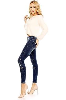 fdbc9c8e3fbf Mayaadi Damen Skinny-Jeans mit Reißverschlüssen Ripped Look 4D831 Dunkelblau
