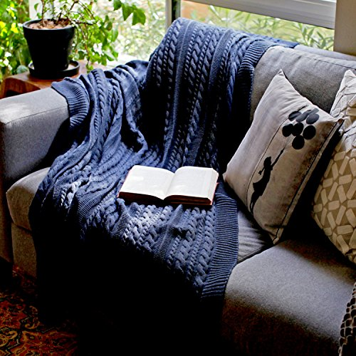 100% ORGANIC COTTON Throw Cable Knit Blanket (50''x70'') Super Soft Warm Luxurious All-Season Non-Toxic Eco-friendly (Navy Blue Dark) by Viverano