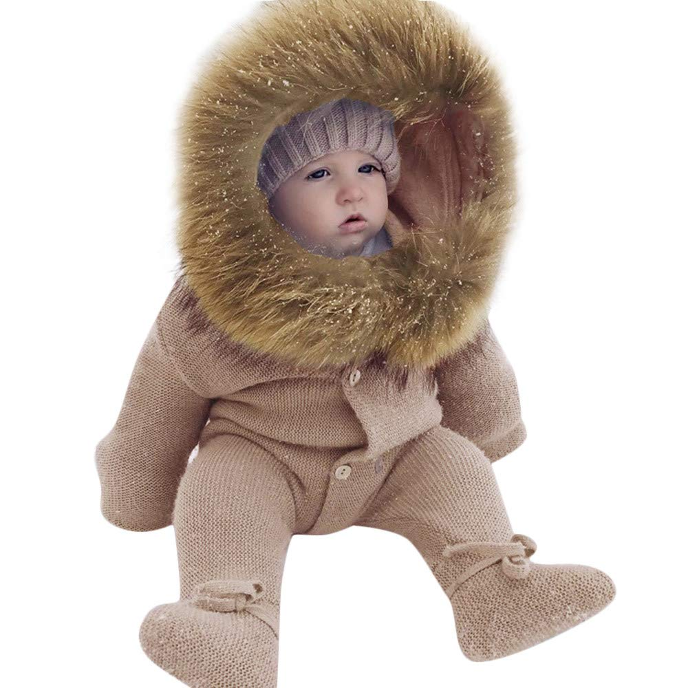 PRINCER Toddler Clothes,Cute Newborn Solid Hooded Knit Wrap Foot Warm Romper Winter Infant Unisex Thicken Big Fur Collar Outerwear Jumpsuit Button Down Outfit for Baby Boys Girls