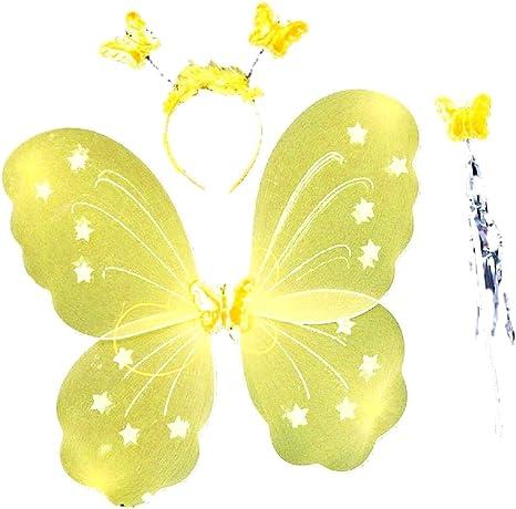 Disfraz - alas mariposa hada diadema amarilla y niña varita mágica ...
