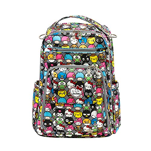 - JuJuBe Be Right Back Multi-Functional Structured Backpack/Diaper Bag, Hello Kitty Collection - Hello Friends