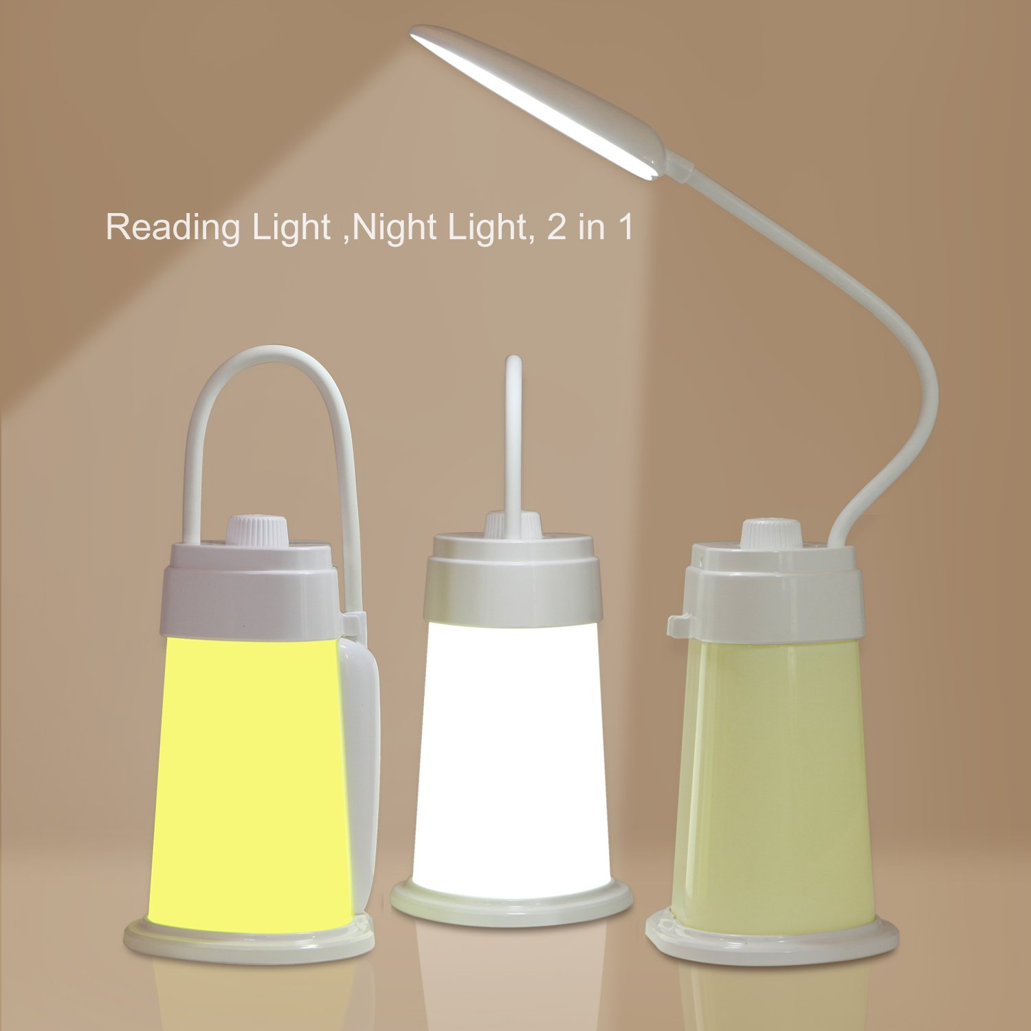 Rechargeable Battery Powered Reading Book Light for Bed, Portable Desk Table Lamp USB Charging Port for Kids Students Bedroom Bedside Nightstand Camping Tent Lantern,Baby Nursery Night Light