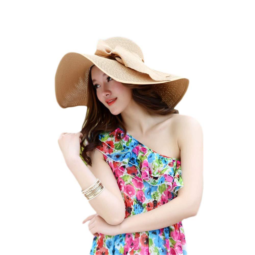 Bow Straw hat Visor hat Lady Holiday Sunscreen Summer Sun hat Beach hat Khaki