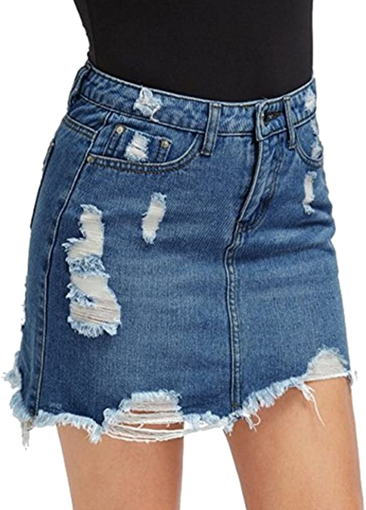 Minigonna Donna Gonna di Jeans Vita Alta Tinta Unita Ripped Gonna A Matita Cerniera Tasca Moda Gonna Corta Blu Chiaro Blu Scuro