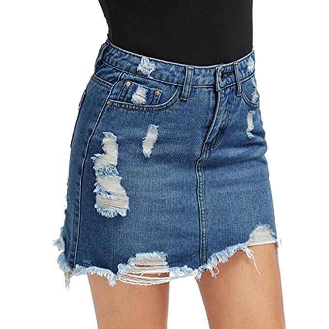 1912405dee536c Frauen High Waist Bodycon Rock Zerrissene Denim Mini Short Skirt Dunkelblau  XS