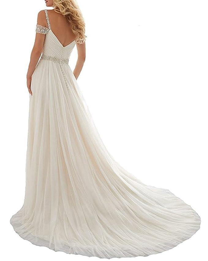 XUYUDITA Una lšªnea de correas rebordear vestido de la corte tren Tulle Beach Wedding Dresses: Amazon.es: Ropa y accesorios