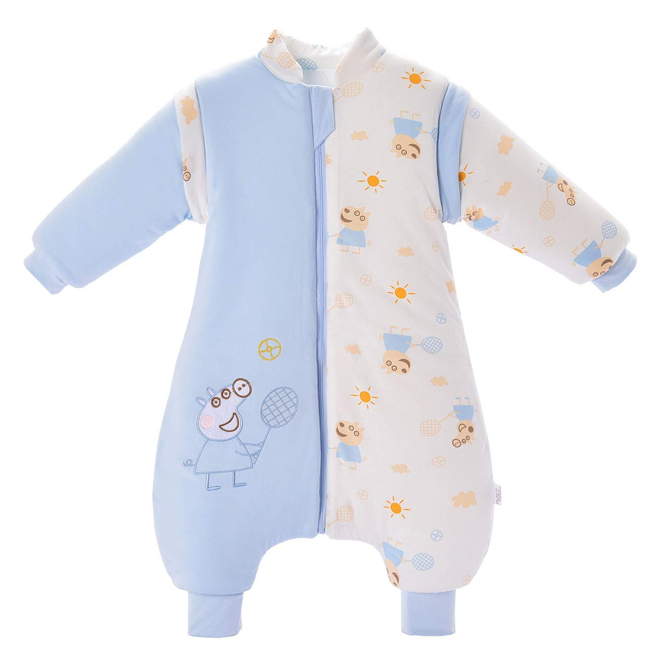 Baby Sleeping Bag with Feet and Long-Sleeved Pyjamas Cotton,Baby Sleepsuit for Baby 1 to 3 Years. (M(0-1 Years Old), Pink) Mosebears