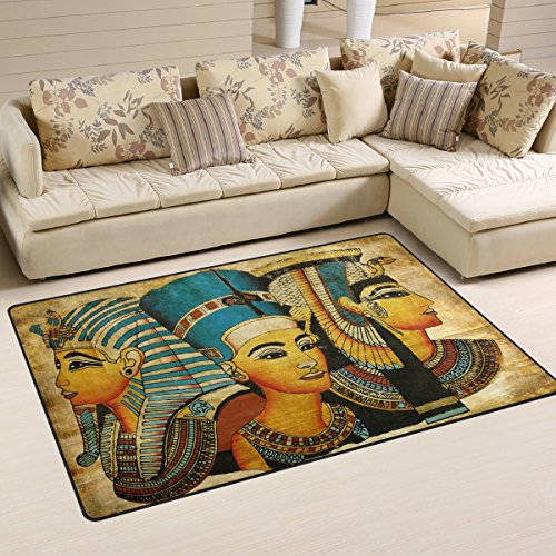 Yochoice Non-slip Area Rugs Home Decor, Vintage Ancient Egyptian Parchment Floor Mat Living Room Bedroom Carpets Doormats 60 x 39 inches -