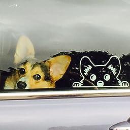 Amazon Com Corgi Peeking Dog Symbol Decal Funny Car Truck