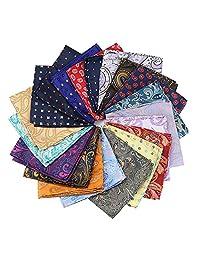 Mantieqingway 15pcs Paisley Pocket Square Print Cashew Handkerchief for Men