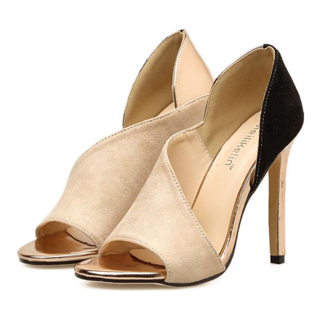 GAOLIXIA Frauen Peep Toe Wildleder High Heels Sommer Mode Hollow Stiletto Heels Sandaleen Pumps Pumps Große Größe