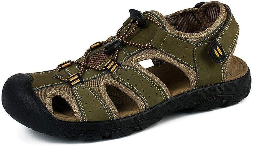 B 6UK Czp Herren Sandalen, Sommer Outdoor Leder mit Schnalle und Haken Riemen Schuhe Hohl Sandalen, geeignet f&uu ;r Strand Wandern Reisen