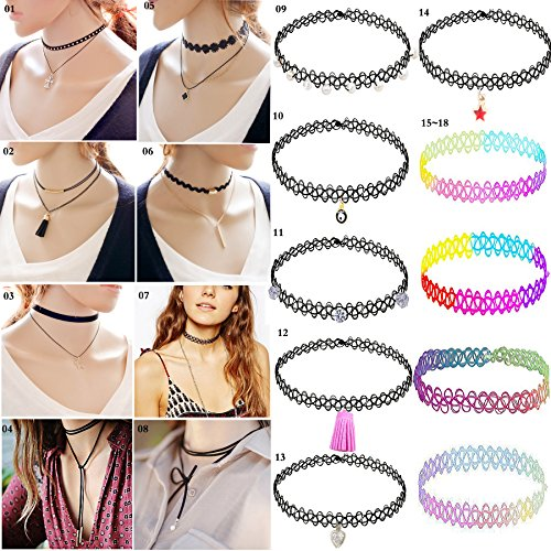 1 Top Recommended Choker Necklace-18 PCS Handmade Fashion Classical Women Girls Gothic Tattoo choker , Stretch Velvet Pearls Leather Tassel Sexy Char…