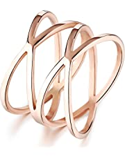 "Women Rose Gold Double ""X"" Criss Cross Ring Stainless Steel 14MM Wide Long Double Infinity Wedding Band"