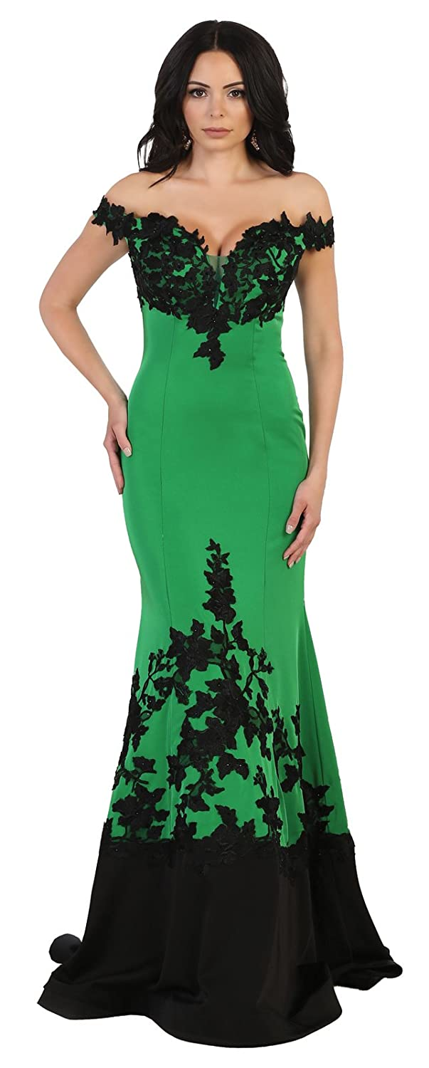 Emerald Black Royal Queen RQ7499 Red Carpet Off The Shoulder Formal Gown