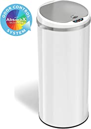 iTouchless 13 Gallon Touchless Sensor Trash Can with Odor Filter System, Round White Steel Garbage Bin, Perfect for Home, Kit