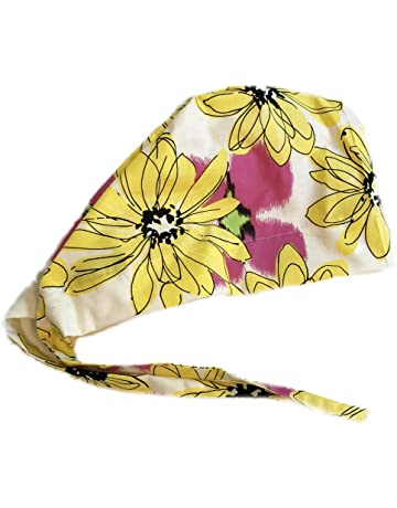 d2165eb91441cf Grace N May Scrub Cap Surgical Women - Front Fold Tie Back - Big Yellow  Flowers