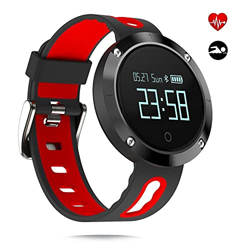 Fitness Trackers Jooyle Wireless Smart Bracelet Activity Tracker Pedometer Watch Heart Rate Blood Pressure Sports Wristband Sleep Monitor Time Display Touch Screen Smart Watch for Android and iOS Smartphone (DM58 red)