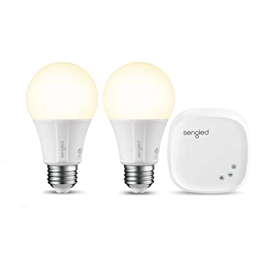 Sengled Element Classic Smart LED Light Bulbs, A19 Dimmable LED Light Soft White 2700K 60W Equivalent, Starter Kit (2 A19 bulbs + hub), Works with Alexa / Google Assistant / IFTTT