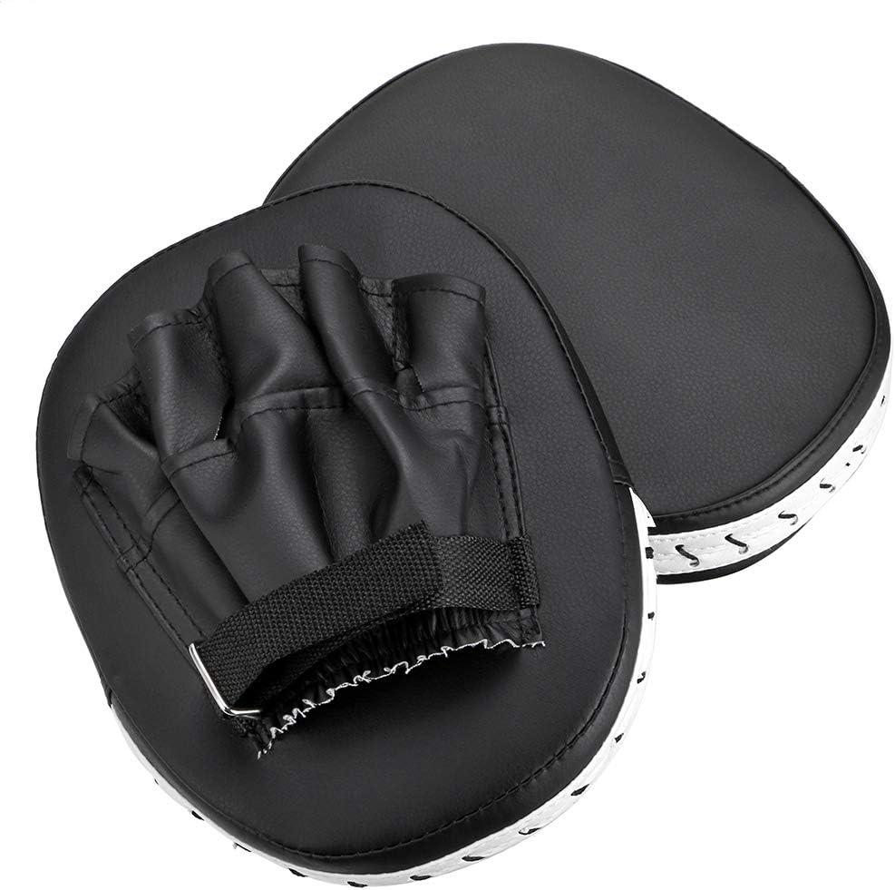 Hipiwe MMA フォーカスパンチミット PUレザー キックパームパッド テコンドー トレーニング ボクシング ターゲットパッド 調節可能なストラップ付き 2個 ブラック