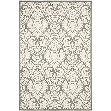 Safavieh Amherst Collection AMT427R Dark Grey and Beige Indoor/ Outdoor Area Rug, 6 feet by 9 feet (6' x 9')