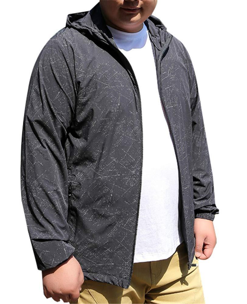 Grau 4XL CWXDIAN Jacke Sonnenschutzkleidung großes Hemd Freizeitkleidung Jungenmantel