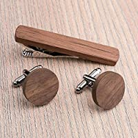 Free shipping: Round Wood Cufflinks and Tie Clip Set. American Walnut wood. Custom personalized initial monogram men gift. Engraved jewelry for men. Wedding groomsmen groom gifts. Exclusive Boss gift