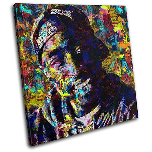 Bold Bloc Design – Tupac Shakur Pop Iconic Celebrities 60x60cm SINGLE Canvas Art Print Box Framed Picture Wall Hanging – Hand Made In The UK – Framed …