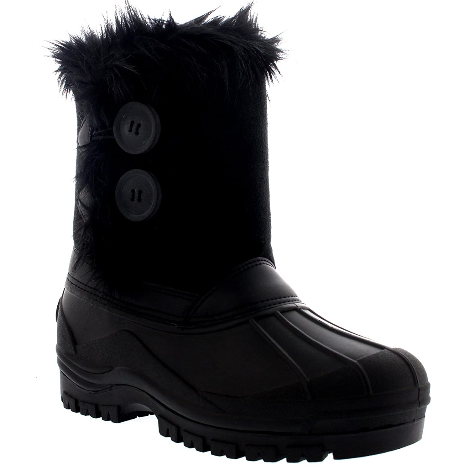 Polarr Womens Twin Button Duck Muck Rain Winter Mid Calf Boots:  Amazon.co.uk: Shoes & Bags