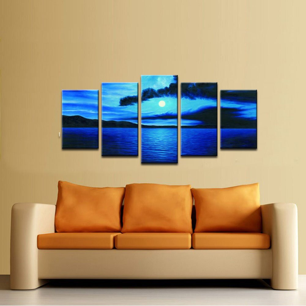 Amazon.com: Wieco Art Dark Blue Ocean White Sun Modern 5 Piece ...