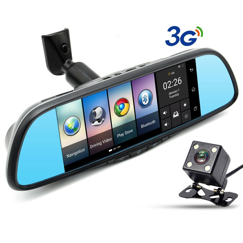 junsun 3G Car DVR Camera Mirror GPS Bluetooth 7'' 16GB FHD 1080p Video Recorder Dash Cam for TOYOTA