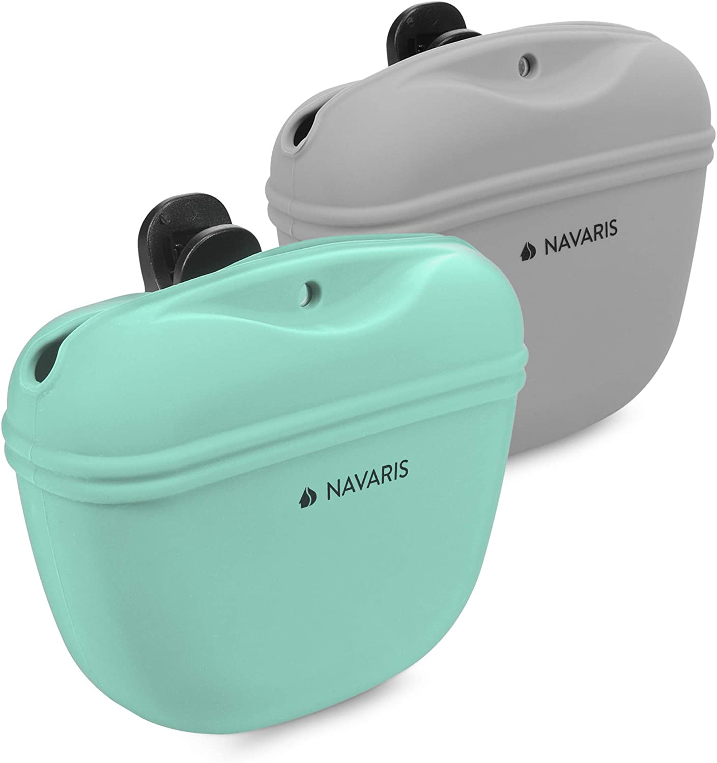 Navaris Silicone Dog Treat Pouch - Training Pet Puppy Bag Pocket Snack Treat Food Holder with Clip for Belt for Dog Walks - Set of 2