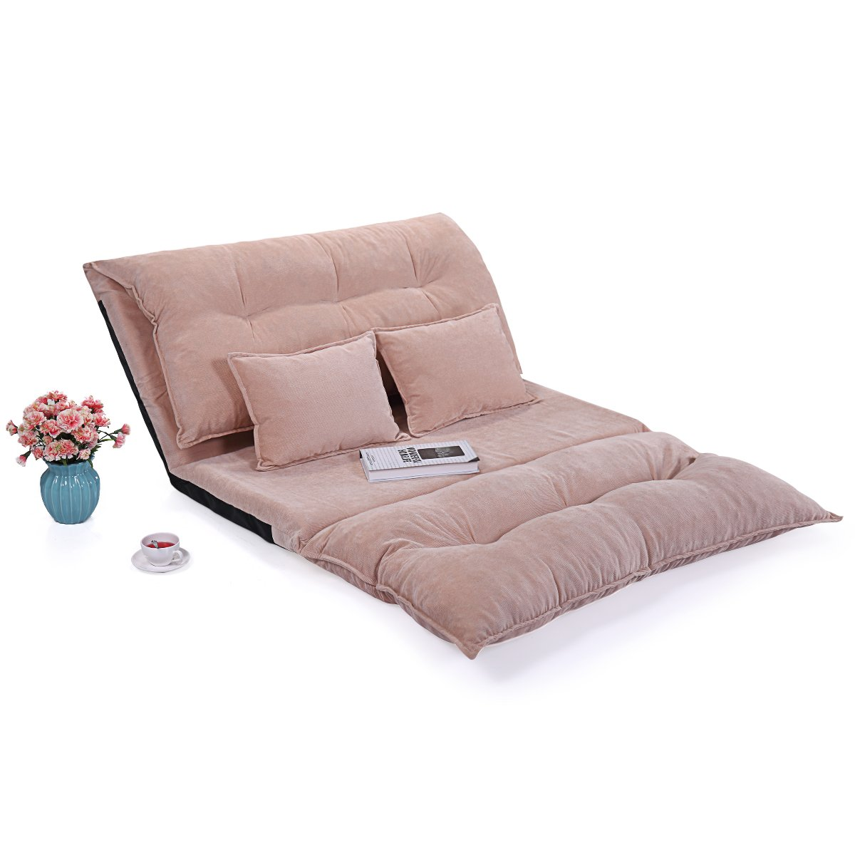 Tobbi Foldable Corduroy Leisure Sofa Bed Video Game Sofa with Two Pillows, light coffee by Tobbi
