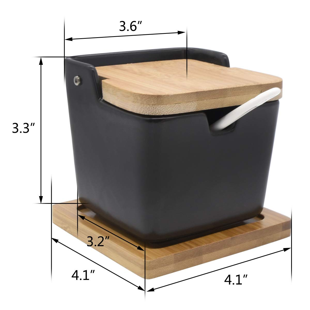 Modern Design,White,VFO-008 Vencer Ceramic Square Tank Sugar Bowl with Sugar Spoon and Bamboo Lid with Bamboo Base for Home and Kitchen