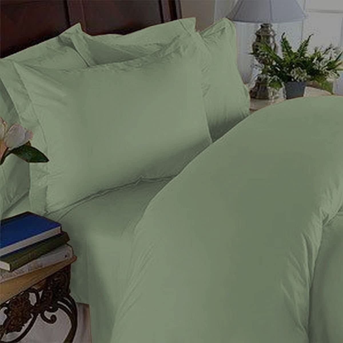 New Elegant Comfort 1500 Thread Count  Egyptian Cotton King Flat Sheet in Sage